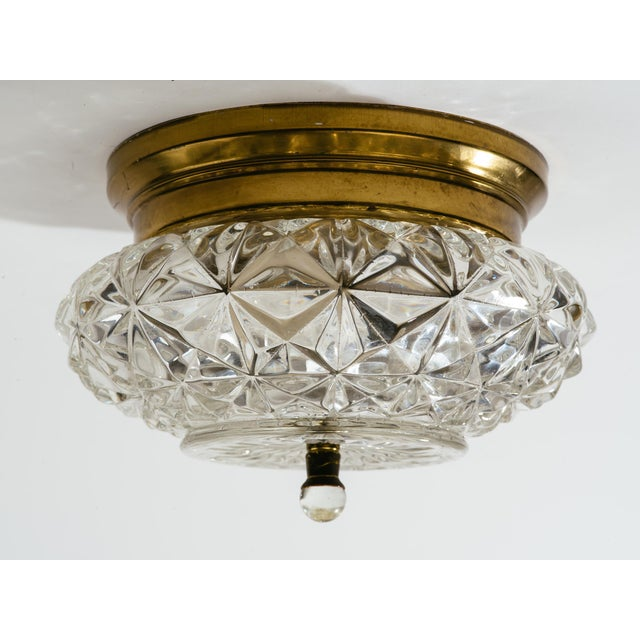 Metal German Glass and Brass Flush Mount Chandeliers - a Pair For Sale - Image 7 of 9