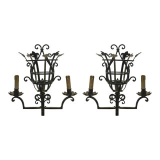 Continental Wrought Iron Sconces - a Pair