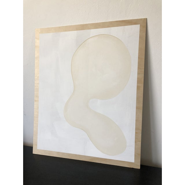 Hannah Polskin original 2018 beige and white abstract acrylic painting on plywood. Critter motif with monochrome color...