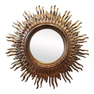 Late 20th Century Large Sunburst Mirror For Sale