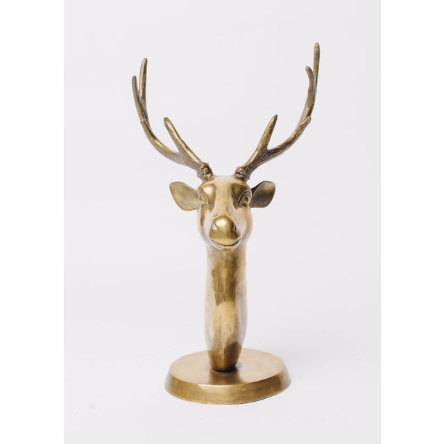 Mid-Century Modern Brass Stags Head Sculpture For Sale - Image 3 of 5