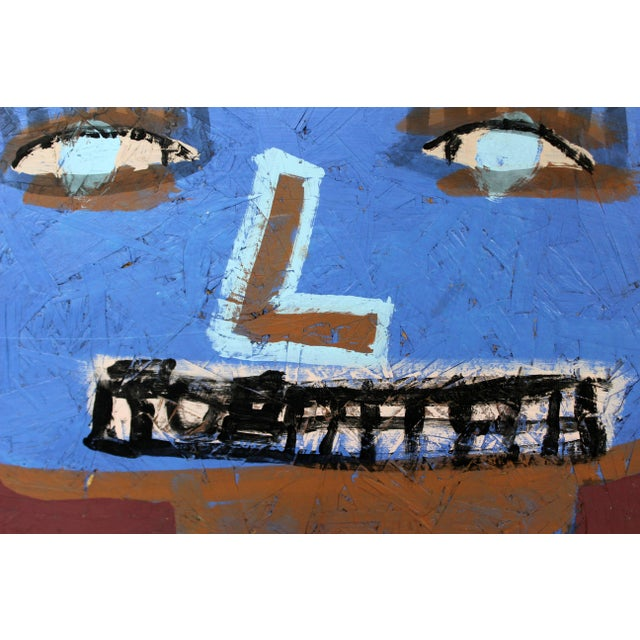 Contemporary Framed Painting on Wood Portrait Signed Tyree Guyton Dated 2000s For Sale In Detroit - Image 6 of 8