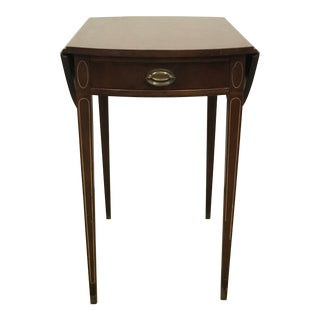 Mahogany Inlaid Drop-Leaf Side Table For Sale