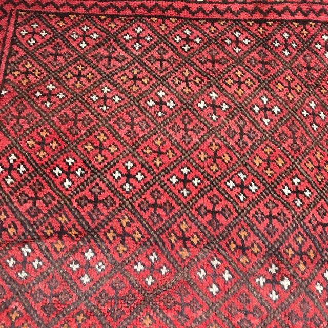 """Patterned Afghan Wool Rug - 3'6"""" X 5'8"""" For Sale - Image 4 of 13"""
