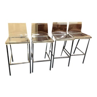 Cb2 Chiaro Clear Bar Stools- Set of 4 For Sale