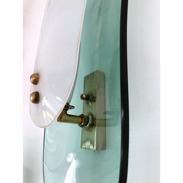 Light Green Curve Glass Opaline Brass Sconces by Cristal Art, Italy, 1960s - A Pair For Sale - Image 8 of 11