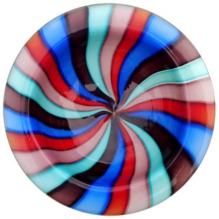 Murano Rainbow Pinwheel Stripes Italian Art Glass Decorative Dish Bowl For Sale