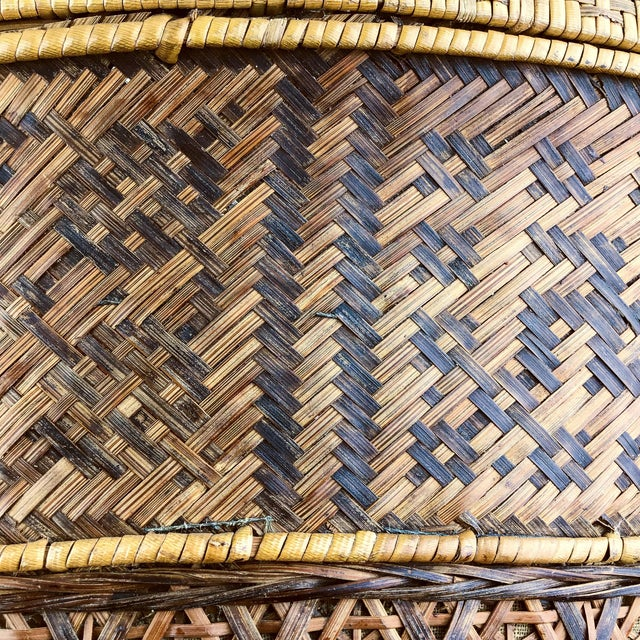 1900 - 1909 Chinese Antique Large Woven Empress Basket For Sale - Image 5 of 13