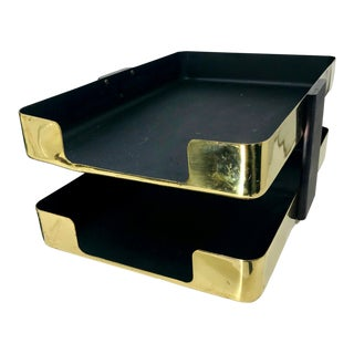 Vintage Smith Metals Art McDonalds Executive Double Letter Brass Desk Tray For Sale