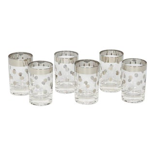 Set of Six Vintage Silvered Liqueur Barware Glasses Designed by Dorothy Thorpe For Sale