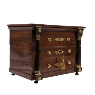 French Empire Mahogany Tantalus Miniature Chest of Drawers, French C. 1820 For Sale