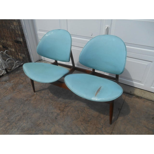 Blue 1960's Mid-Century Modern Kodawood Clamshell Bench Chairs For Sale - Image 8 of 9