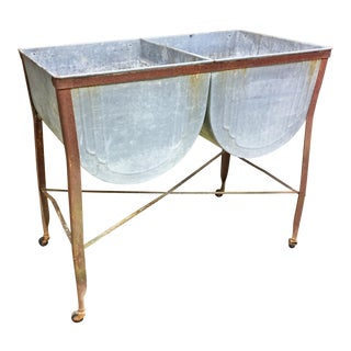 Vintage Celina Country Galvanized Double Basin Wash Tub with Stand