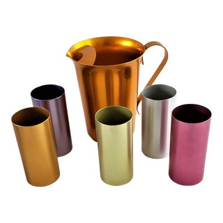Vintage Mid-Century Modern Anodized Aluminum Pitcher, 5 Tumblers 6 Pcs For Sale