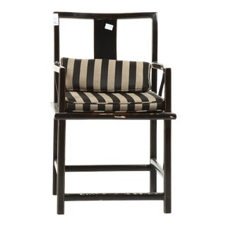 Distressed Black Wood Arm Chair With Striped Fabric Cushion & Pillow For Sale