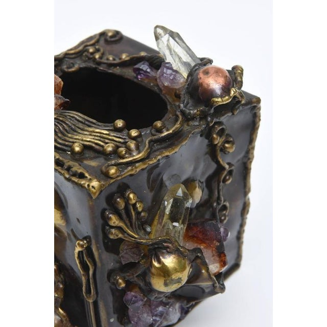 Brutalist Sculptural Mixed Metal and Amethyst, Quartz Tissue Box/ SAT.SALE - Image 6 of 10