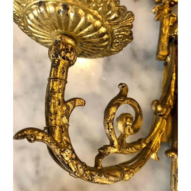 Early 20th Century Pair of English Adam Style Brass Dore Wall Sconces Two-Light Arms For Sale - Image 5 of 11