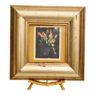 Framed Tulip Art on Faux Bamboo Brass Easel For Sale