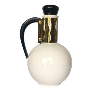 Mid-Century Ceramic & Brass Pitcher