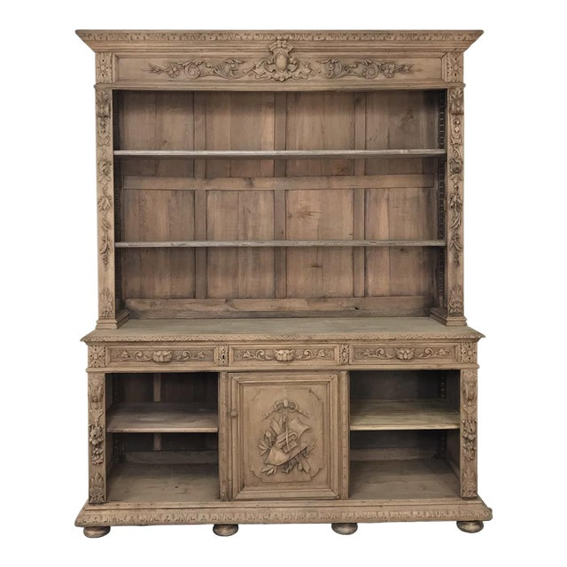 19th Century French Renaissance Stripped Oak Bookcase For Sale