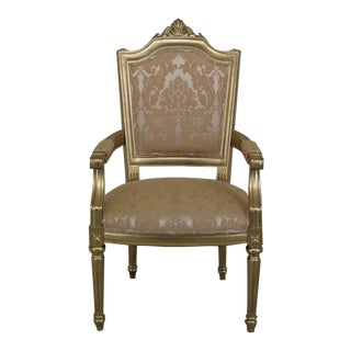1990s French Louis XV Style Gold Decorated Open Arm Chair