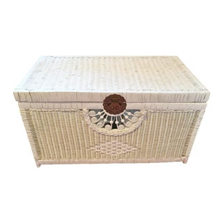 Vintage White Wicker Trunk With Brass Hardware For Sale