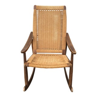 Mid Century Modern Hans Wegner Style Rope Rocking Chair For Sale