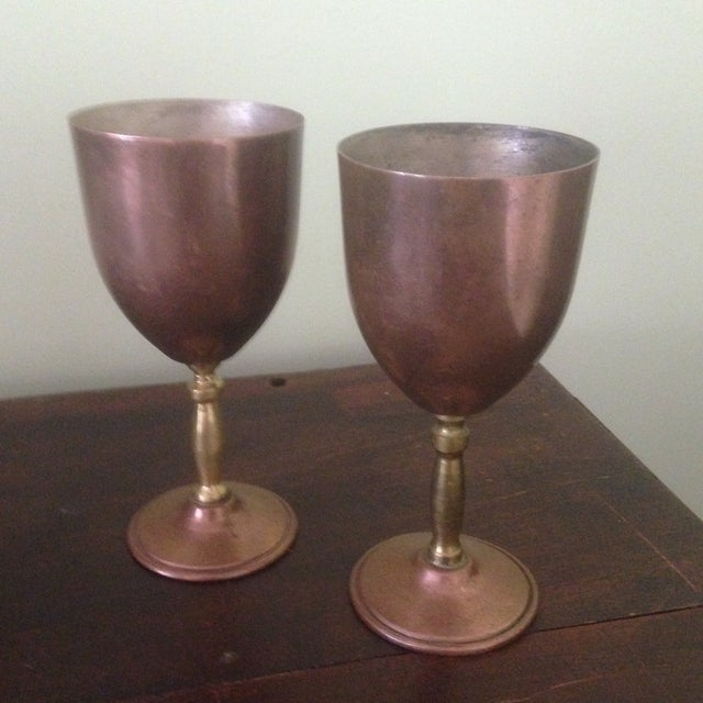 Copper & Brass Goblets - a Pair - Image 2 of 11