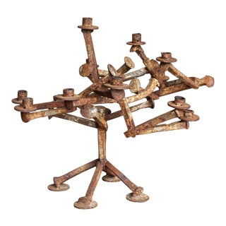 Sculptural Railroad Spike Candleholder Circa 1965 For Sale