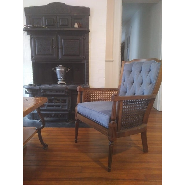 1940s Mid-Century Wingback Blue Upholstered Caned/Cane Chair For Sale - Image 5 of 10