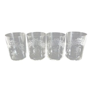 Shabby Chic Vintage Etched Glasses - Set of 4 For Sale