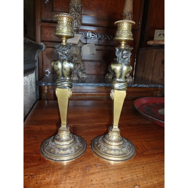 Magnificent 19th century French bronze candle sticks signed on left arm of male figure L.kley. Louis Kley was a French...