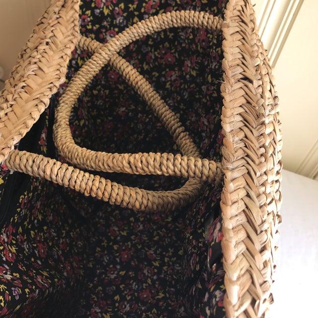 Large Boho Lined Jute Market Basket - Image 5 of 8