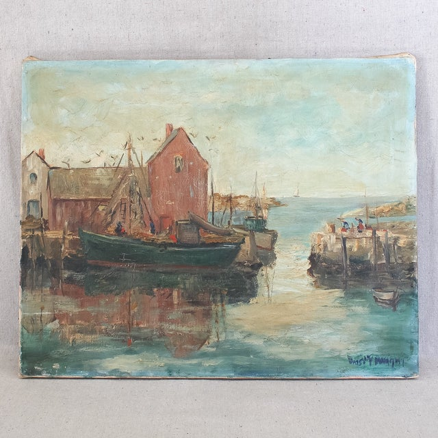 Vintage New England harbor scene on canvas by listed artist Daisy Thayer Wright, circa 1940. A classic East Coast painting...
