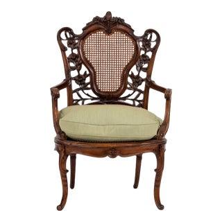 French Art Nouveau Walnut Arm Chair