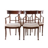 Image of 20th Century Mahogany Klismos Chairs- Pair For Sale