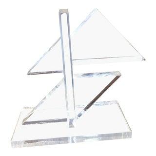 1980s Geometric Lucite Block Sculpture For Sale