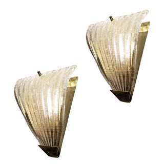 1960's Italian Ribbed Murano Glass Sconces - a Pair For Sale