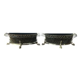 Antique Brass Wire Baskets - a Pair