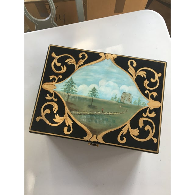 Black Antique Box With Landscape and Gold Trim Hand Painted Details For Sale - Image 8 of 9