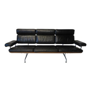 Mid 20th Century Eames Black Leather / Walnut Aluminum Group Sofa for Herman Miller Model # 3473 For Sale