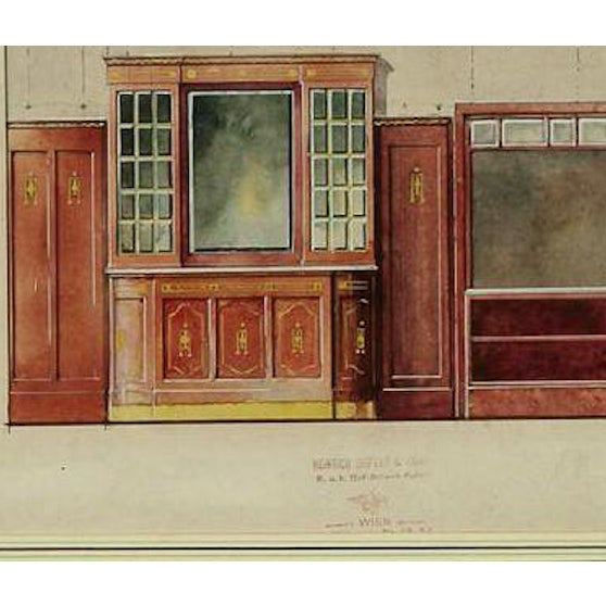 German design watercolour & gouache c1920s rendering for an sophisticated interior featuring elaborate cabinetry with...