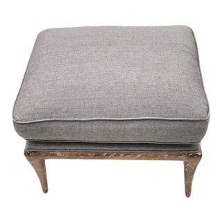 1990s Upholstered Ottoman With Fruitwood Legs For Sale