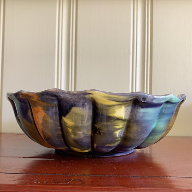 Blue Groovy Handmade Pottery Vintage Bowl For Sale - Image 8 of 13