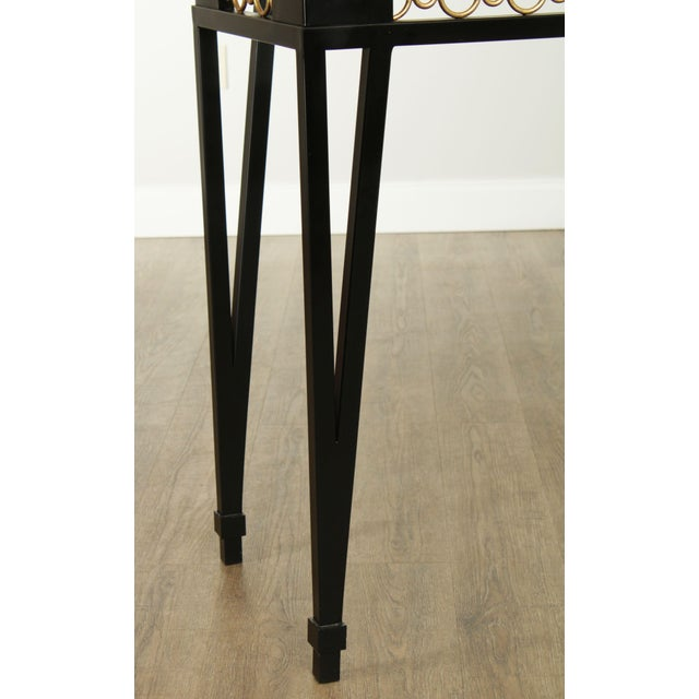 Hollywood Regency Style Black & Gold Glass Top Console Table For Sale - Image 10 of 13