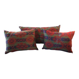 Southwestern Style Wool Blanket Pillows S/3