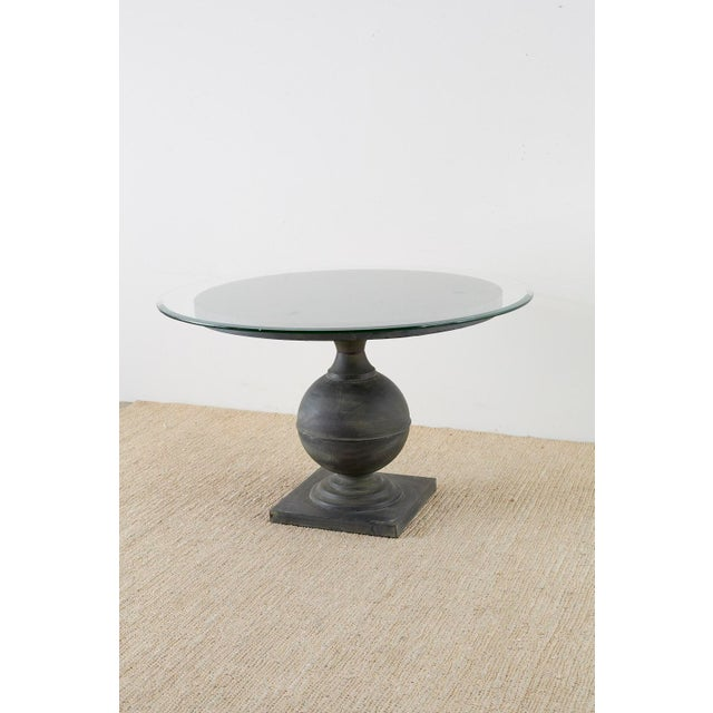 Dark Gray Neoclassical Patinated Metal Pedestal Dining or Centre Table For Sale - Image 8 of 13