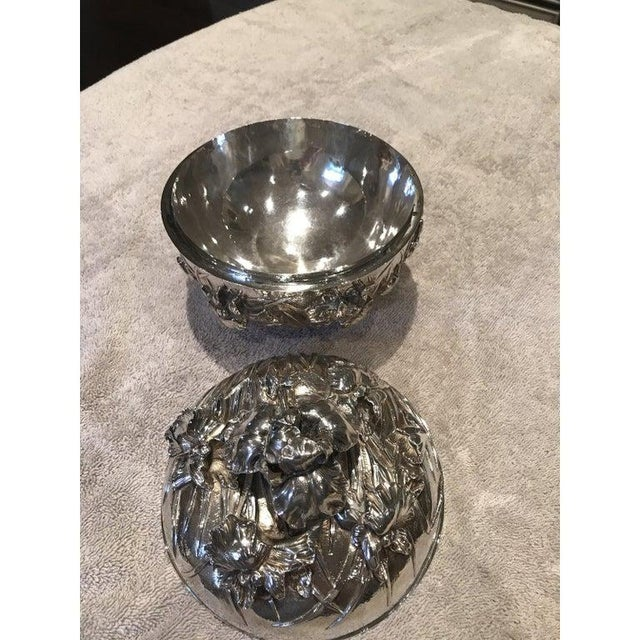 Silver Antique Japanese Meiji Period Solid Silver Bowl With Lid For Sale - Image 8 of 9