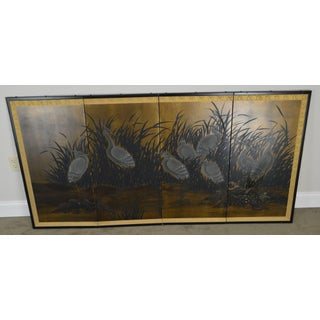 Asian Vintage Folding Screen With Cranes in High Grass Preview