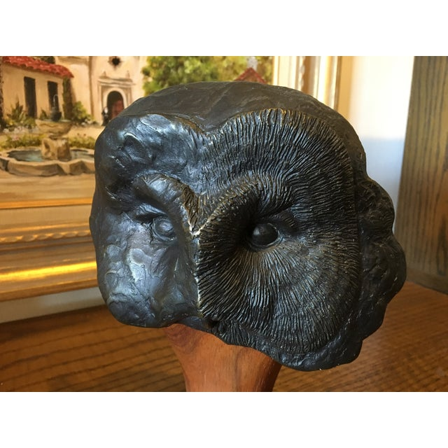 Grant Goltz Bronze & Wood Owl Sculpture - Image 7 of 9